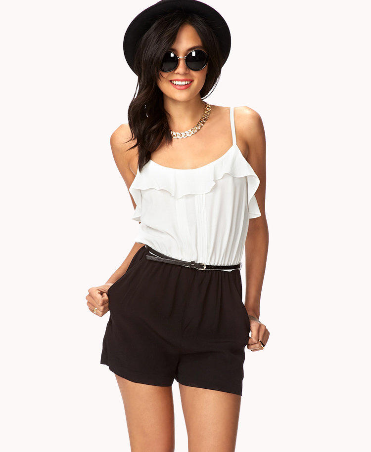 Ruffled Combo Romper W/ Belt From Forever 21 | Clothes U0026 Misc.