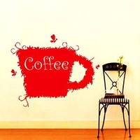 Wall Decals Coffee Cup Decal Vinyl Sticker Home Decor Kitchen Interior Cafe Art Window Decals Mural Arts