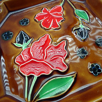 Vintage Brown Ceramic Ashtray or Dish with Red and Black Flowers, made in Japan