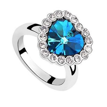 Heart Blue Sapphire Fashion Rings