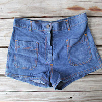 The Perfect High Waisted Denim Stitched Shorts. Size Small/Medium
