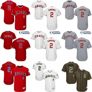 2017 Los Angeles Angels of Anaheim Jerseys #2 Andrelton Simmons MLB Baseball Jersey Flexbase Cool Base Red Grey White stitched