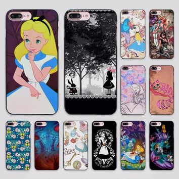 Hot sale Alice in Wonderland punk design hard black Case Cover for Apple iPhone 7 6 6s Plus SE 5 5s 5c 4 4s