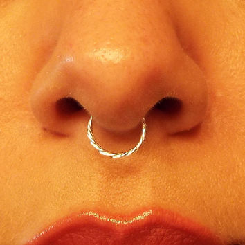 Sterling Silver Septum 18 Gauge Twisted Septum Ring Fake No Piercing Needed Wire Nose Ring