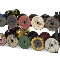 RECLAIMED TEXTILE SPOOL WINE RACK | Cellar, Organizer, Bottle Holder, Vintage | UncommonGoods