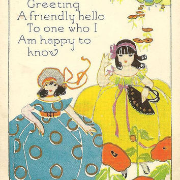 Cheery Greeting Girls in Fancy Dresses - friendship vintage postcard