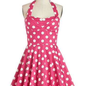 ModCloth 50s Short Length Halter Fit & Flare Traveling Cupcake Truck Dress in Pink
