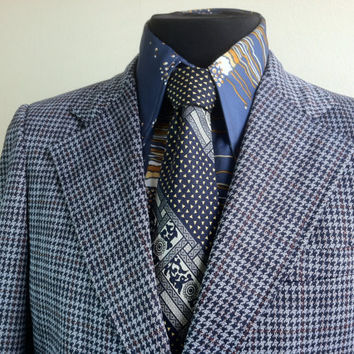 Gilmore's Red Label Collection Retro Blue and Gray Checkered Mens Sports Jacket