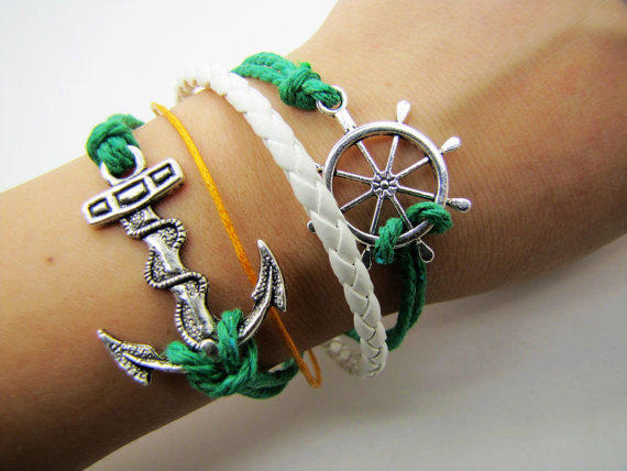 Adjustable Vintage Silver Bacelet  Green Anchor  Bracelet  With  Ropes Cuff  Bracelet  Vintage bracelet  Jewelry Bangle 912S
