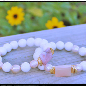 Blush Pearls with Angel Silk Peruvian Opal Chicket & White Tridacna 12mm Stretch Bracelet, Stacking, Boho Beach Chic, Bridal, Yoga Inspired