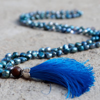 Long bohemian beaded necklace Hand knotted pearl strand Teal blue tassel Freshwater pearl boho chic mala beads Extra long hippie jewellery