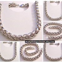 Monet Wheat Chain Necklace Choker Silver Tone Vintage Weaved Open Links Round Long Braided Tube Weighs 175.4 Grams