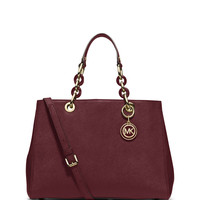 Cynthia Saffiano Medium Satchel Bag, Merlot - MICHAEL Michael Kors