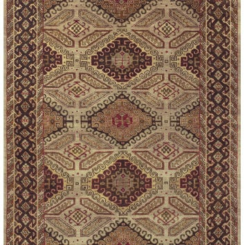 Rustic Collection Hand Knotted Wool Area Rug in Camel & Brown design by BD Fine