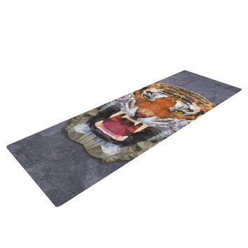 "Ancello ""Abstract Tiger"" Gray Orange Yoga Mat"