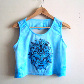 Pastel Blue Tie Dye Yoga Top Tank Open Back Hand Painted Crop Tank Top Workout Fitness Top Zen T-Shirts Meditation Top