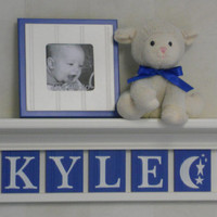 "Nursery Wall Decor / Room Decor - Personalized for Baby KYLE with Moon and Stars on 24"" Linen White Shelf with 5 Blue Wall Letters"
