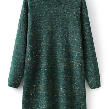Dark Green Long Sleeve Knitted Sweater Dress