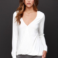 In the Loop Ivory Long Sleeve Top