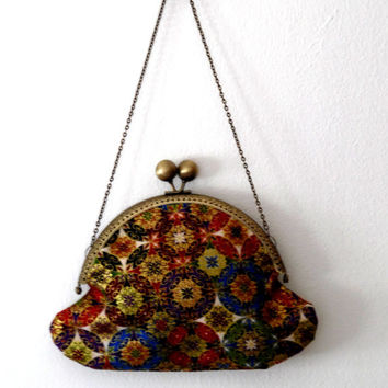Colourful gold/blue/maroon/black/white/purple/green circle/flower printed/gold/chain/clutch bag/purse