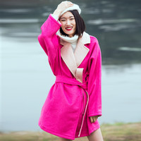 Casual Pink Lapel Wool Coat