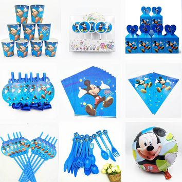 Mickey Mouse Party Supplies Decoration Favors Tablecloth Cup Plate Straw Napkin Gift Bag Candles Candy Popcorn Box Kids Birthday