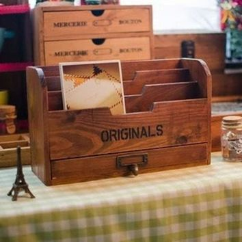 ac PEAPON Storage Box Postcard Stationary Clipboard Wooden Rack [11133552972]