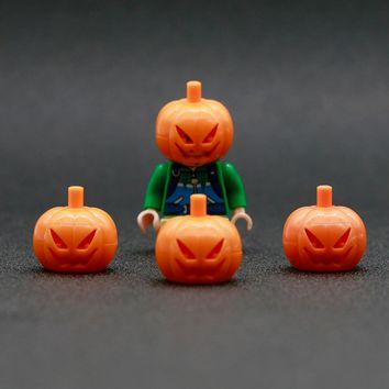 City Block Pumpkin Headgear Building Blocks Orange Pumpkin Head Mini Figure Accessories Bricks Toy Compatible LegoINGlys Friends