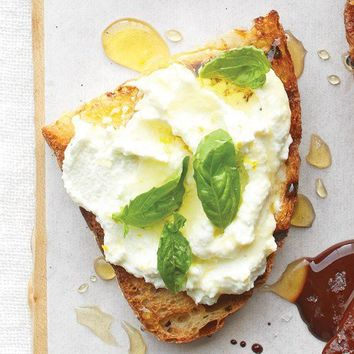 Good MORNING / Ricotta Bruschetta with Lemon, Basil, and Honey - Martha Stewart Recipes