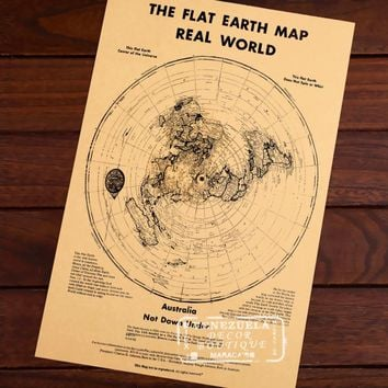 Map of The Flat Earth Real World Classic Vintage Retro Kraft Decorative Poster Maps Home Bar Posters Wall Sticker Decor