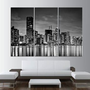 black and white miami skyline large wall art Print, extra large wall art, miami wall art canvas wrapped, miami modern wall decor t359