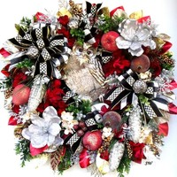Elegant Owl Wreath, Christmas Wreath, Holiday Wreath, Thanksgiving Wreath, Metallic Silver, Gold, Red, Black Accents, Any Season