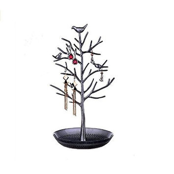 Ehdching Antique Birds Tree Stand Jewelry Display Necklace Earring Bracelet Organizer Holder (Deep Silvery)