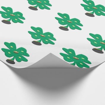 Shamrock Green Clover Wrapping Paper