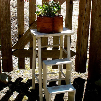Vintage Wooden Kitchen Step Stool - White Painted Ladder- Fold Up - Country Farmhouse Cottage Decor