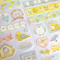 colorful birds sticker fancy birds label owl mother and baby cute parrot twins birds baby birds fairy tale birds sticker gift bird planner