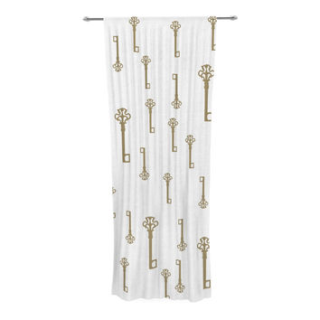 "Suzanne Carter ""Vintage Gold Keys II"" White Yellow Decorative Sheer Curtain"