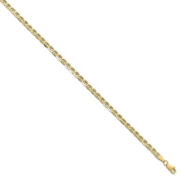 3.2mm 10k Yellow Gold Hollow Anchor Chain Necklace