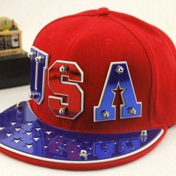 PEAPIX3 Fashion Men's Women's Unisex Snapbacks Hats Usa Punk Hip Hop Cap Flat Brim Baseballs Spike Rivet Hat