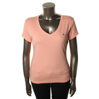 Tommy Hilfiger Womens Knit V-Neck Casual Top