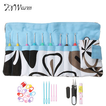 28Pcs Set Mixed Metal Hook Crochet Kit with Storage Bag Aluminum Knitting Needles Crochet Markers For Loom Tool DIY Crafts
