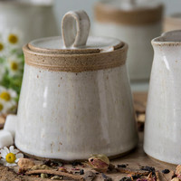 White Pottery Sugar Bowl / Ceramic Lidded Container / Honey Pot Jar / Kitchen Storage Gift / MADE TO ORDER