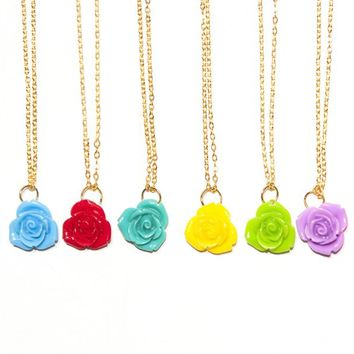 Spring Delicate Rose Necklaces-Many Colors-Perfect Gifts