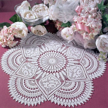 White Handmade Crochet Doily, Crochet Lace Doily, Roses, Cottage Chic, Country Style