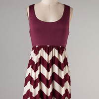 CITY OF THE SUN MAROON CHEVRON DRESS