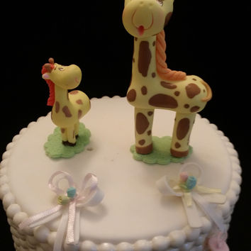 Mommy Giraffe and Baby Cake Topper, Baby Giraffe Baby Shower, Mommy Giraffe and Me Baby Shower, Giraffes For Cake Decorations, Baby Animals