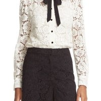 kate spade new york bow tie lace shirt | Nordstrom