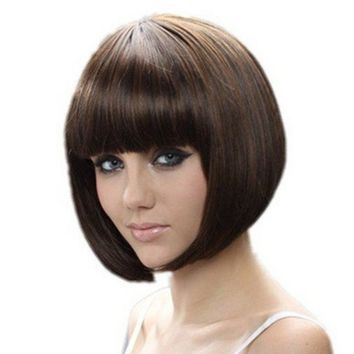 Short Bob Wigs Brown Wig for Women with Bangs Straight Cosplay Synthetic Wig Natural As Real Hair 12''with Wig Cap BU027BN