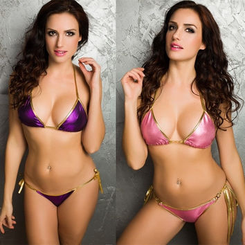 Sexy Purple/Green/watermelon Metallic Halterneck Bikini Top + Tied Bottom Swimsuit Swimwear Bathing Suit = 1956880452
