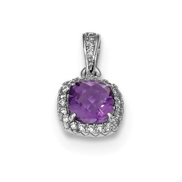 Sterling Silver Cushion Amethyst and Created White Sapphire Halo Pendant